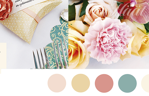 Romanttisia hääkoristeita pastellin sävyissä
