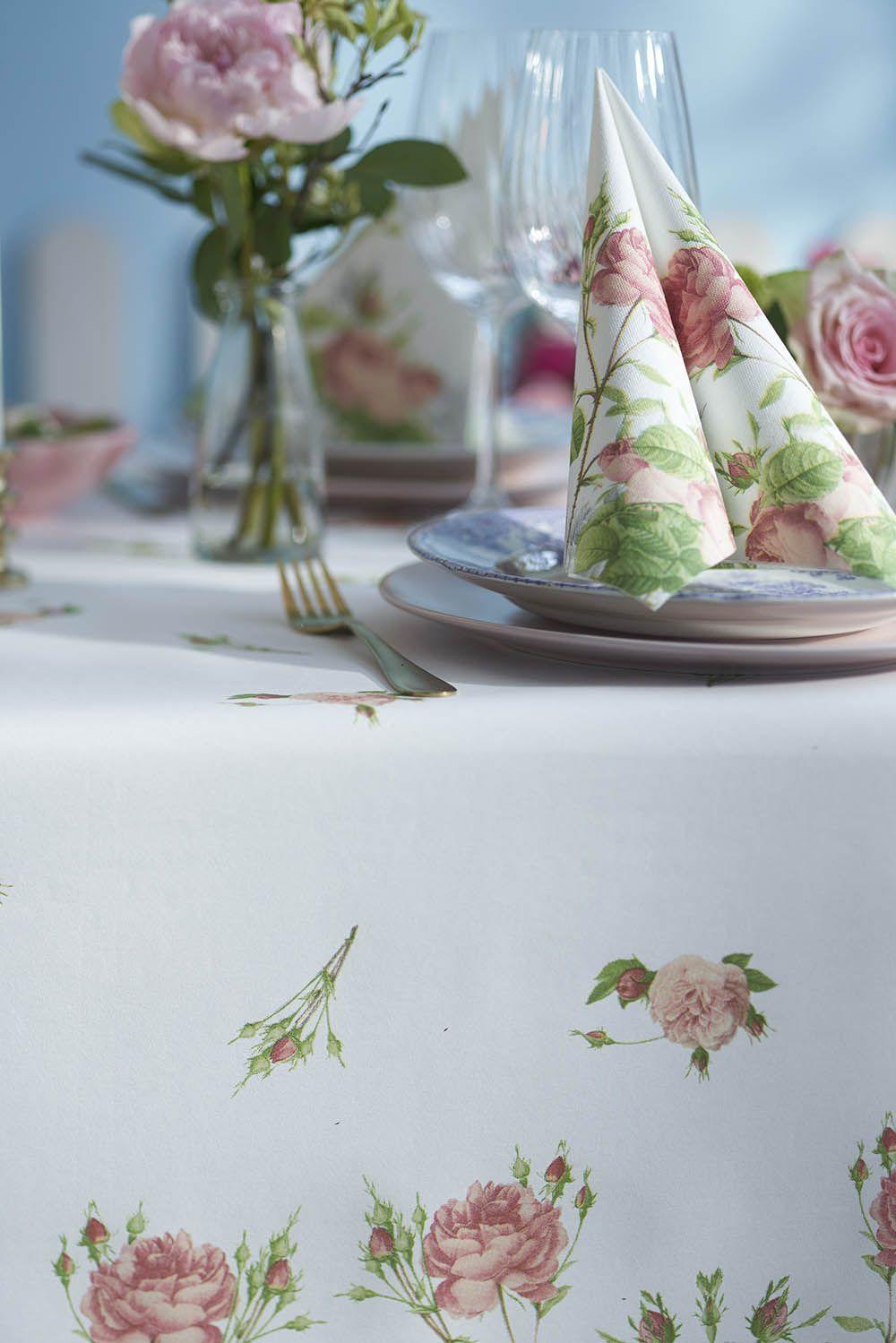Duni Garden Bride pöytäliina ja lautasliina
