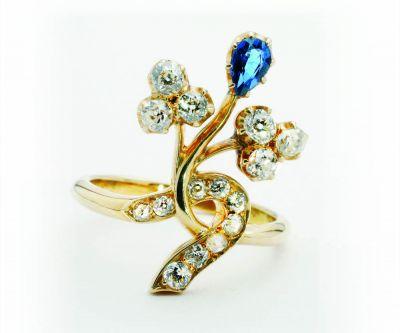 ruusu- ja vanhahiontaiset timantit sekä safiiri sormus Huutokauppa Helander