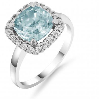 Laatukoru Silván timanttisormus sinisellä topaasilla 0,20 ct