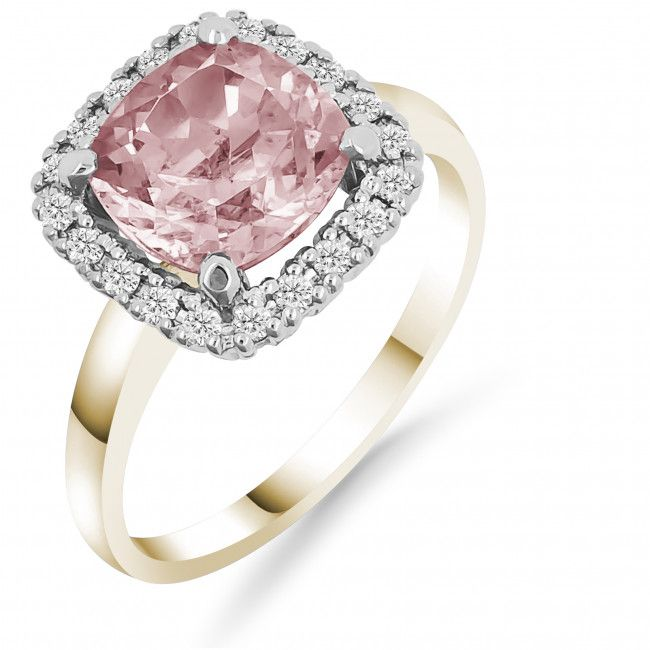 Laatukoru Silván timanttisormus vaaleanpunaisella synteettisellä morganiitilla 0,20ct
