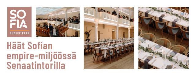 Sofia Future Farm häät empiremiljöössä Helsingin Senaatintorilla