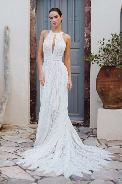 Zazabella Allure Bridals bohemian wedding dress F167 Autumn