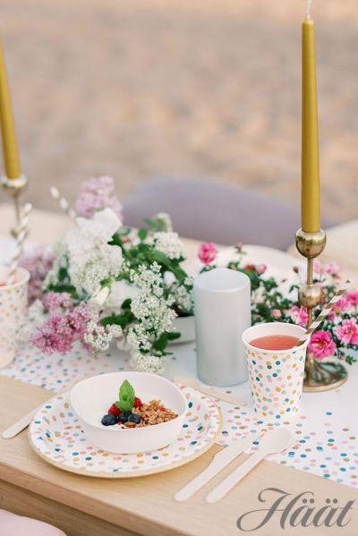 hääbrunssi hääjuhlat rannalla kertakäyttöastioilla katettu pöytä