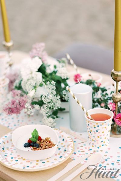 hääjuhlat kesäisellä rannalla katettu juhlapöytä kertakäyttöastioista