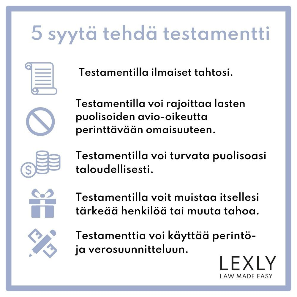 5 syytä testamentille - Lexly