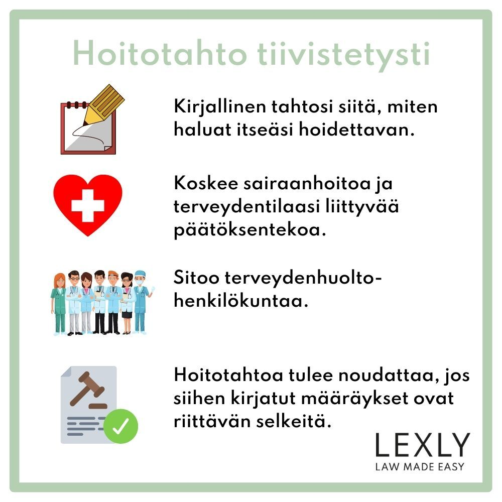 Hoitotahto tiivistetysti - Lexly
