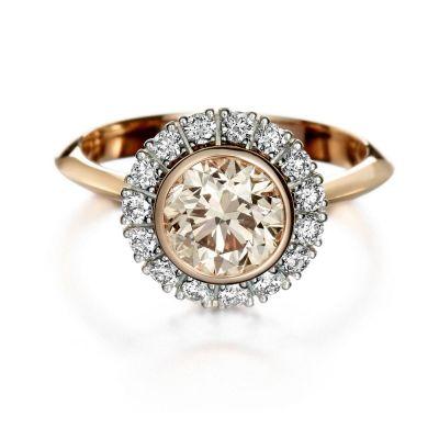 vintagetyylinen timanttisormus Kultaseppä Kulmala